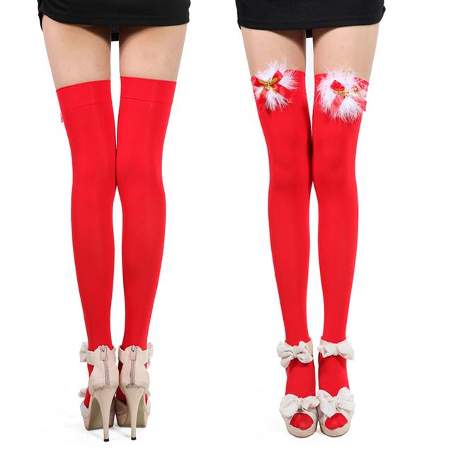 Envío libre rojo de la Navidad sexy lindo atracos medias hasta la rodilla calcetines Medias de terciopelo carne caliente impermeable 2021