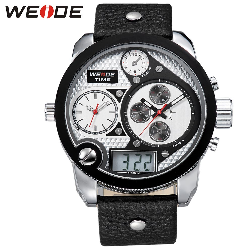 WEIDE Brand Simple Sport Watches Three Time Zone Analog Digital Display 30m Waterproof Big White Dial With Leather Strap 2305 weide brand irregular man sport watches water resistance quartz analog digital display stainless steel running watches for men