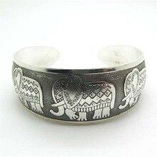FASHION Vintage Elephant Tibetan Tibet Silver Plated Bracelets Charming Elegant Round Metal Cuff Bangles Women Jewelry
