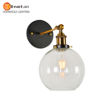 Modern Vintage Brief Vintage Wall Lamp American Style Glass Bedside Retro Iron Wall Lamp Amber Bedside E27 Wall Lights(BK 50)