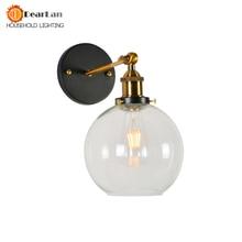 Vintage Modern Breve Vintage Lampada Da Parete in Stile Americano lampada Da Comodino In Vetro Retro Lampada Da Parete In Ferro Ambra Luci Da Parete Da Comodino E27 (BK 50)