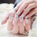 New 24pcs/Pack Pretty Full False Nail Decoration Sticker Rhinestone Wedding Bridal Fake Nail Tips Nail Art With Glue
