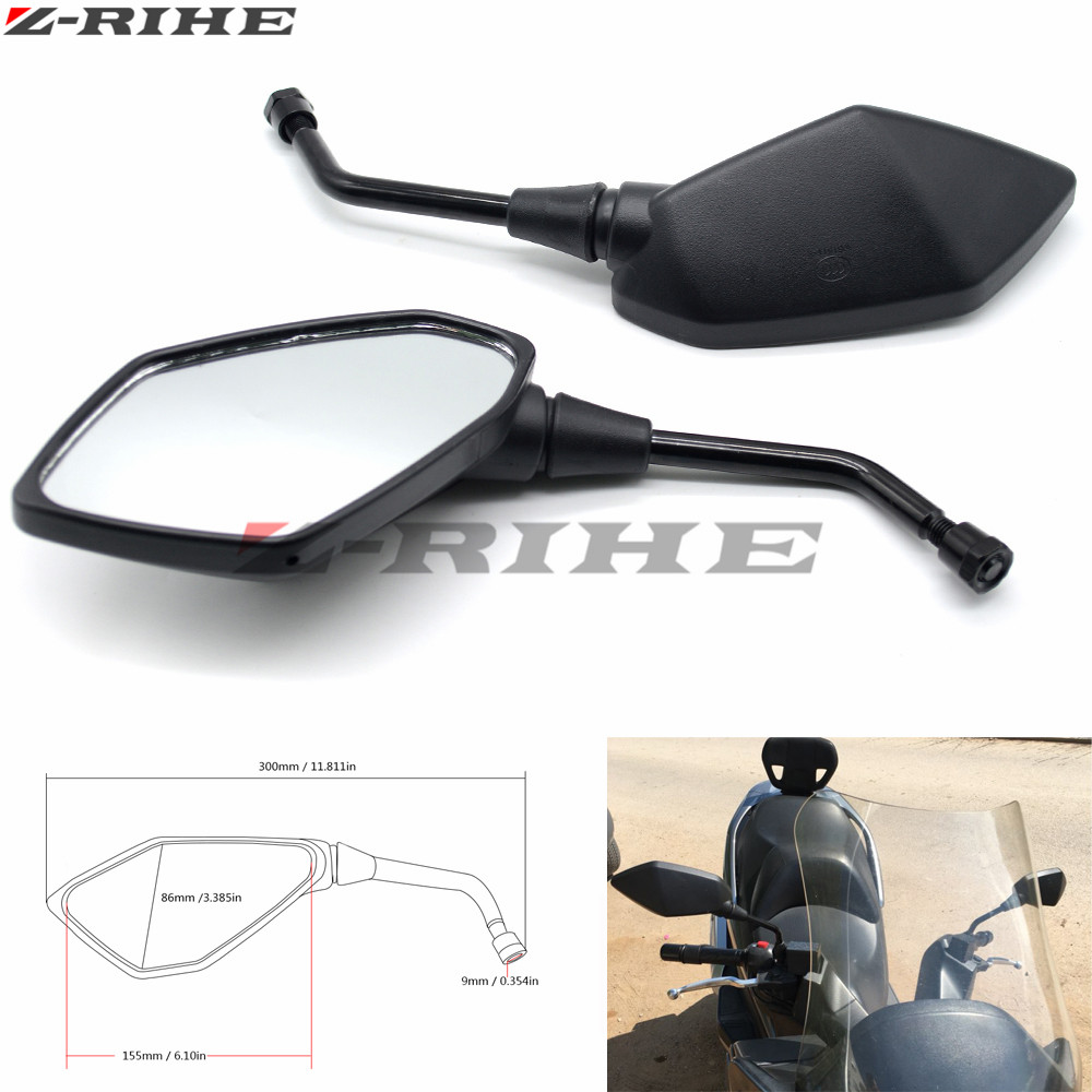 Motorcycle Mirror Universal Motorbike Replacement Parts Rear View Mirrors 10mm 8mm On Sales Big Size Glass for kawasaki honda