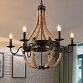 Vintage Loft Industrie Retro Persönlichkeit Seil Anhänger Lichter Restaurant Lampe esszimmer anhänger lampen hanf seil licht-in Pendelleuchten aus Licht & Beleuchtung bei