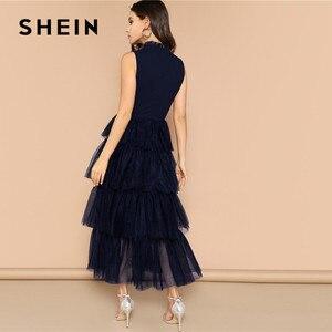 Image 2 - Shein 프릴 넥 라인 계층화 된 메쉬 프릴 밑단 맥시 드레스 민소매 스탠드 칼라 매력적인 파티 드레스 하이 웨스트 여름 드레스