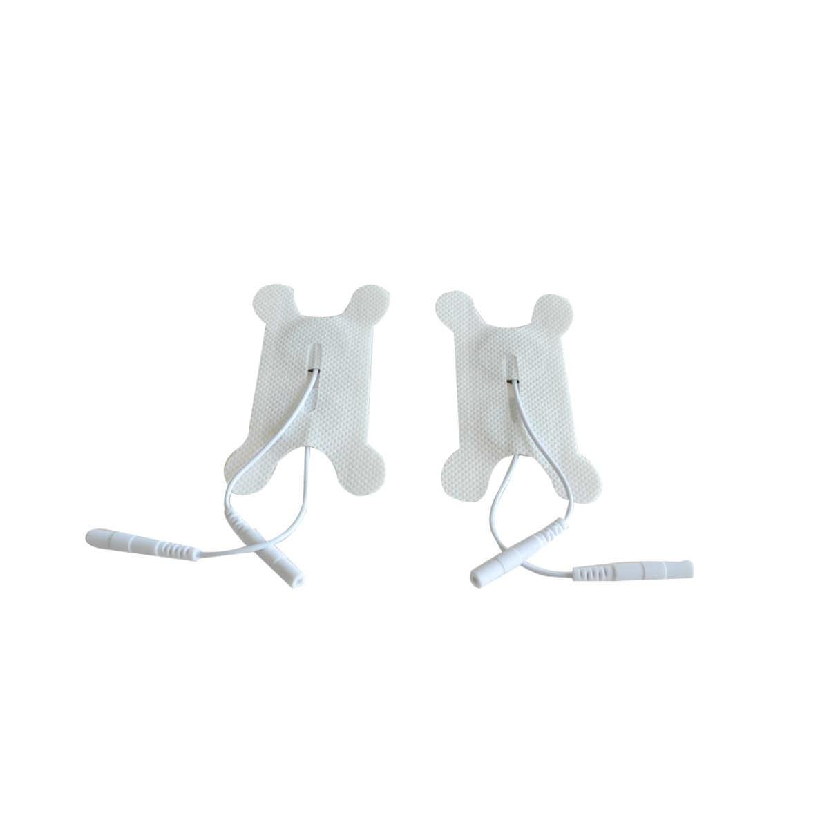 5 ペアシリコーン & ゲル電極パッド喉嚥下障害テストパッチ神経刺激と 2 ミリメートルプラグ十治療マッサージ