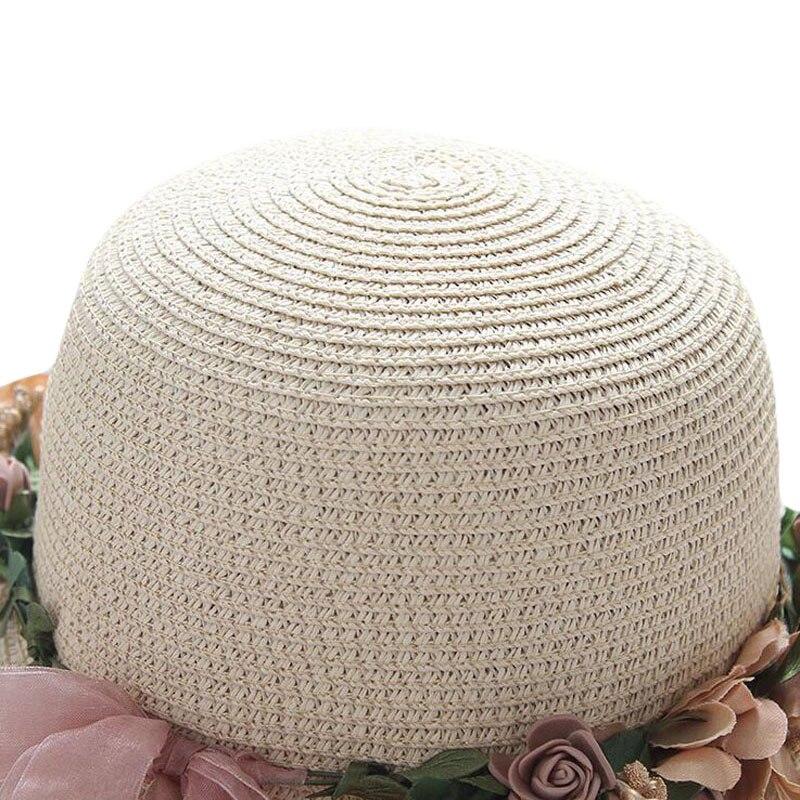 Summer Womens Flower Straw Hats Garland sunbonnet bucket hat Wide Brim Sun Beach Hat Fedora Trilby Hat Chapeu Feminino in Women 39 s Sun Hats from Apparel Accessories