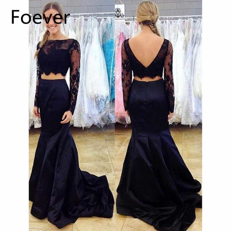 Two Piece Mermaid Prom Dresses Black Lace Illusion Long Sleeve Tulle Sexy 2019 Factory Custom Made Formal Party Dress
