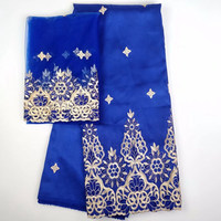 Unique New African George Lace Fabric Blue Color With Gold Sequins 5 2Yards Sets Wedding Dress