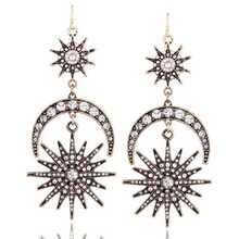 European and American fashion new six-pointed star exaggerated sun moon earrings alloy