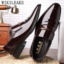 2019 итальянский лакированная кожа Свадебная формальная обувь для мужчин Элитный бренд Мужские модельные туфли оксфорды для sapato social masculino