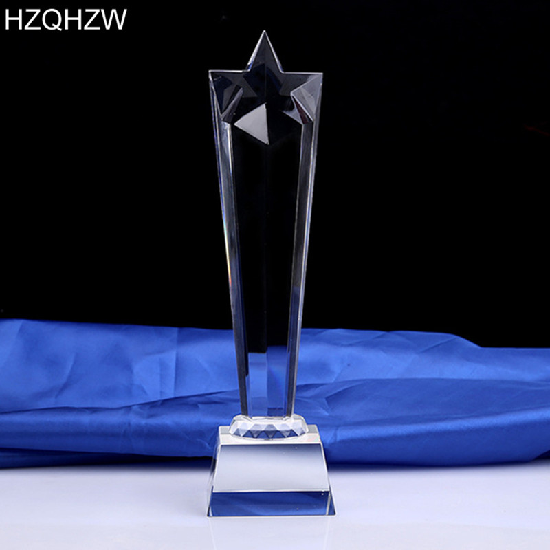 Logo Or Words Customized Crystal Trophy Star Decorative Glass Award Sport Events Souvenirs Annual Meeting Awards Music In Sports From