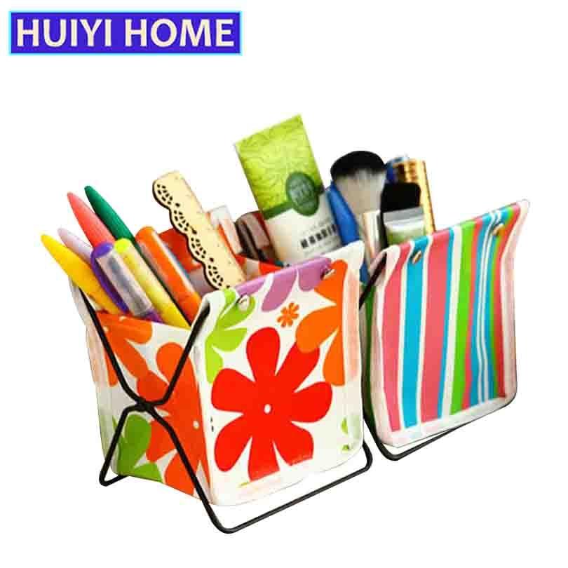 Huiyi Home Mini Office Storage Box Oxford-Cloth Folding Metal Frame Cosmetic Jewelry Rack Basket Makeup Organizer EGL322