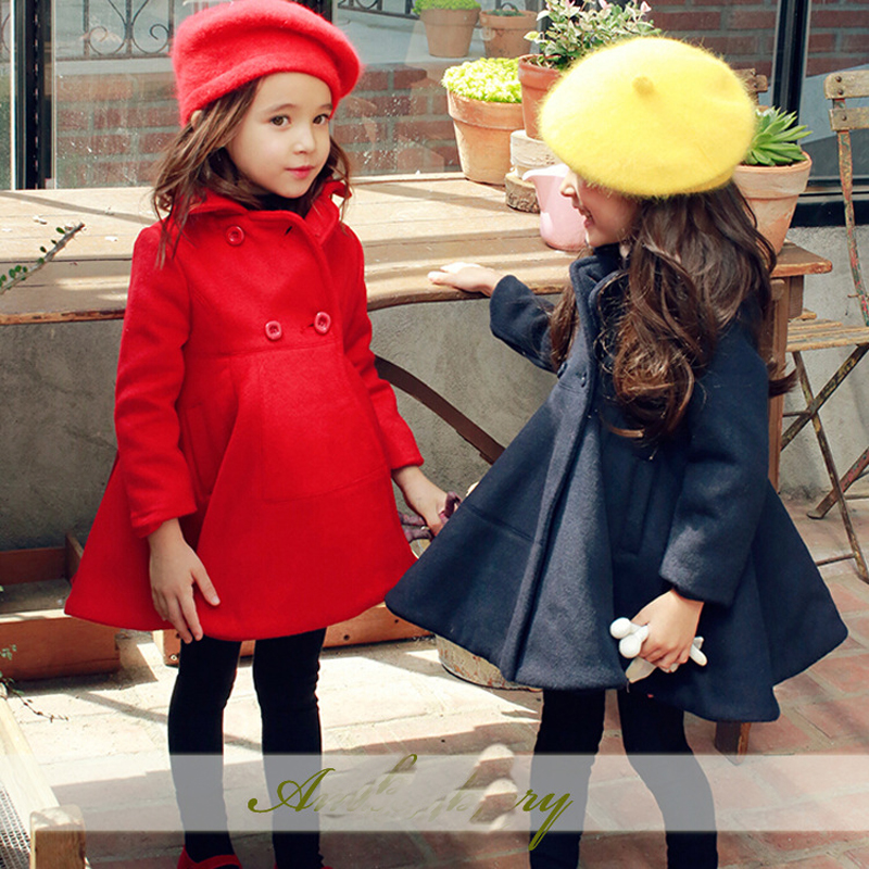 High Quality Toddler Girls Outwear Jackets Cotton Blend Tops Fashion Children Jacket Thick Coats A-line Baby Coat Autumn E255 wool blend long a line wrap coat with belt