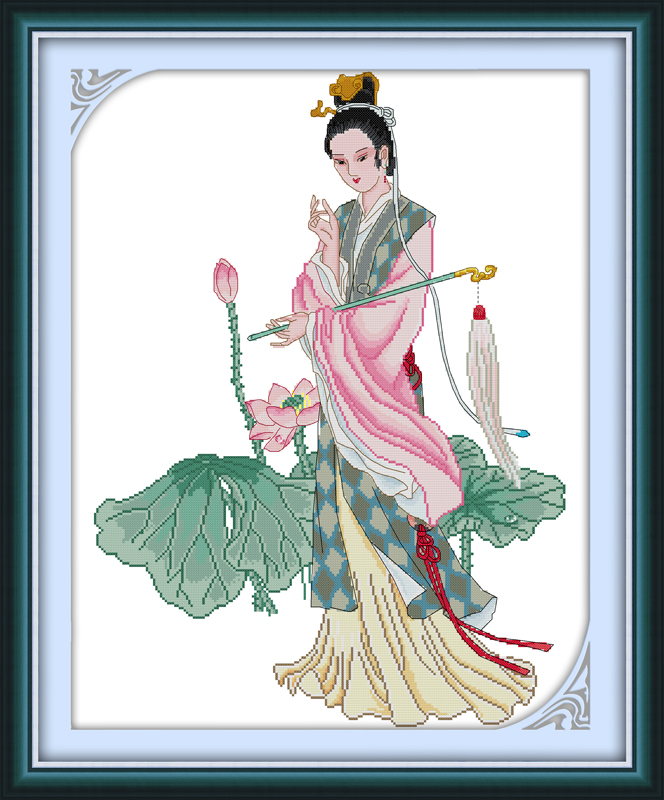 Miao-yu Lin Kruissteek Kit Mensen 18ct 14ct 11ct Count Print Canvas Steken Borduurwerk Diy Handgemaakte Handwerken Mooi Van Kleur
