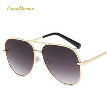 Prouddemon 2018 Mode Aviator lunettes de Soleil Femmes et Hommes Populaire Métal  Cadre Miroir Objectif Lunettes Femelle Aviador . 16c1546a3963
