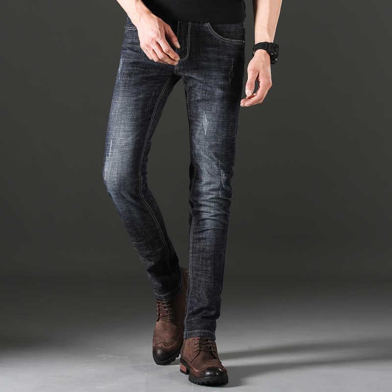 Jantour мужские классические джинсы бренд большого размера синие прямые Панталоны Мужские джинсы Узкие байкерские брюки подходят черные обычные брюки лето