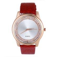 Simples moda de Luxo Strass Relógio das Mulheres Pulseira de Couro Quartz Relógio de Pulso das Mulheres Dress Watch Relogio feminino Presente Do Amor