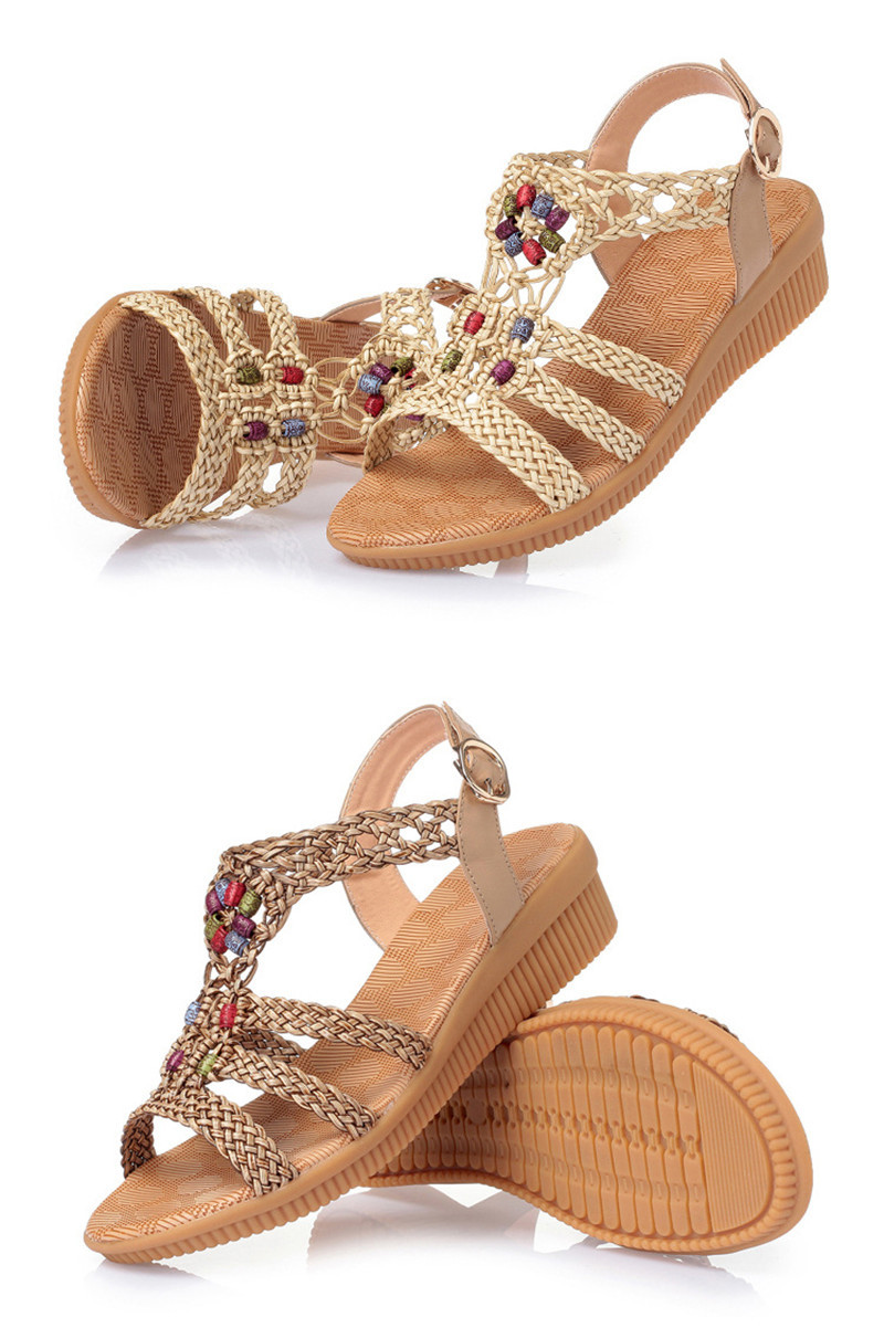 HTB1FA0XTCzqK1RjSZFjq6zlCFXaE YAERNI 2019Ethnic Women sandals summer woven sandals breathable women wedge sandals zapatos mujer size 35-42E969
