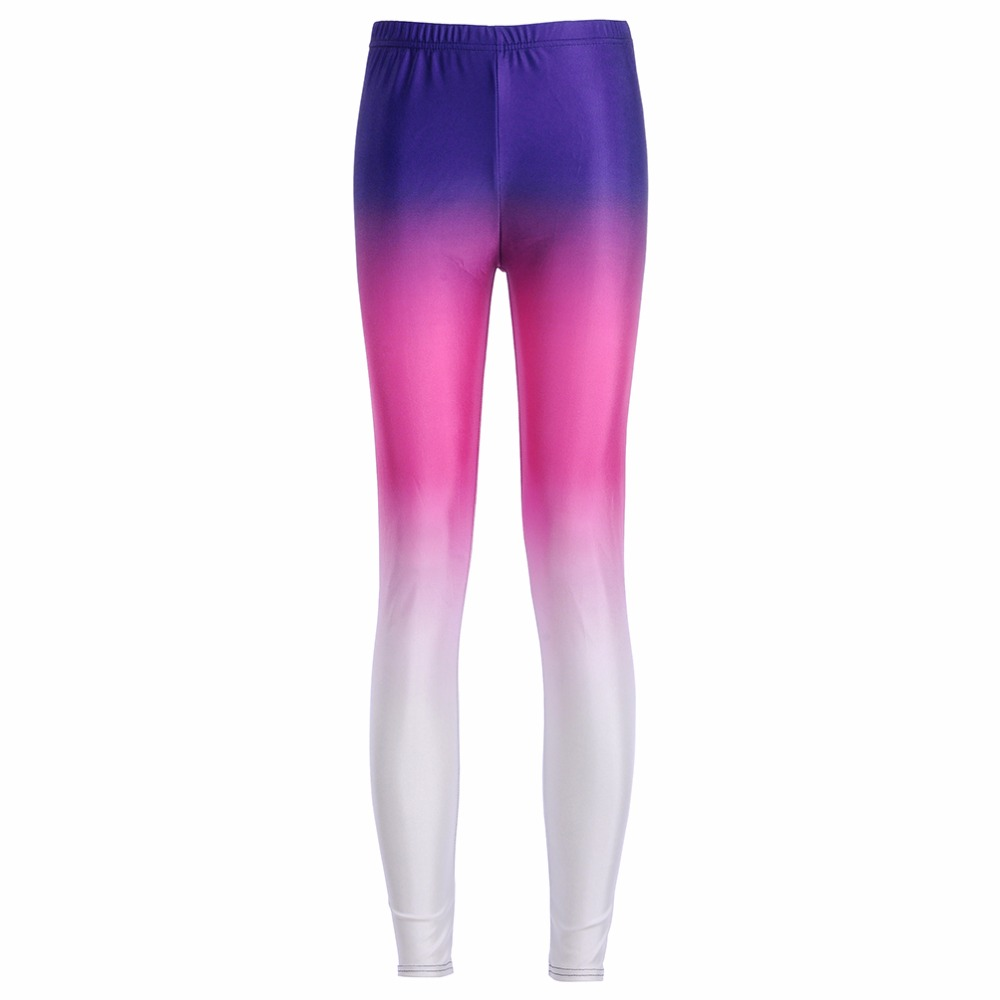 New Arrival 3716 Sexy Girl Women Colorful Rainbow shade Color 3D Prints Elastic Fitness Polyester Walking Leggings Pants