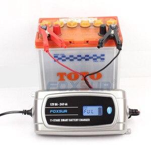 Image 2 - FOXSUR 12V 8A 24V 4A 11 stage Smart Battery Charger, 12V 24V EFB GEL AGM WET Car Battery Charger with LCD display & Desulfator