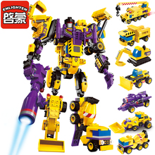 Enlighten Mecha Educational Building Blocks Toys Robot Transformer Truck Hero Destroyer Ares Cars Vehicles Compatible With Legoe