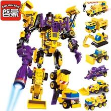 Enlighten Меха Образовательные Игрушки Строительных Блоков Робот Трансформатора Грузовик Hero Эсминец Арес Cars Автомобилей Совместимо С Legoe