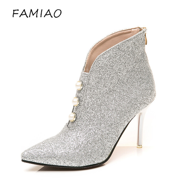 FAMIAO Sexy Crystal Wedding Dress Shoes High Heel Boots Comfortable Bridal Silver Woman Party Prom