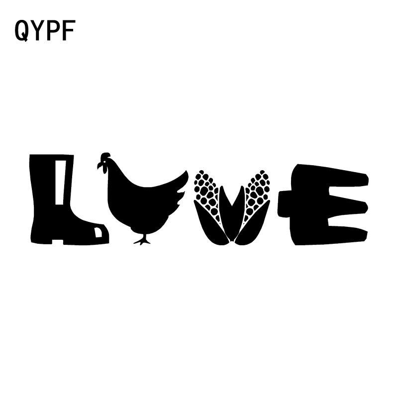 QYPF 16.4cm*4.5cm Farm Chicken Love Fashion Vinyl Car-styling Car Window Sticker Decal Black Silver C15-1231