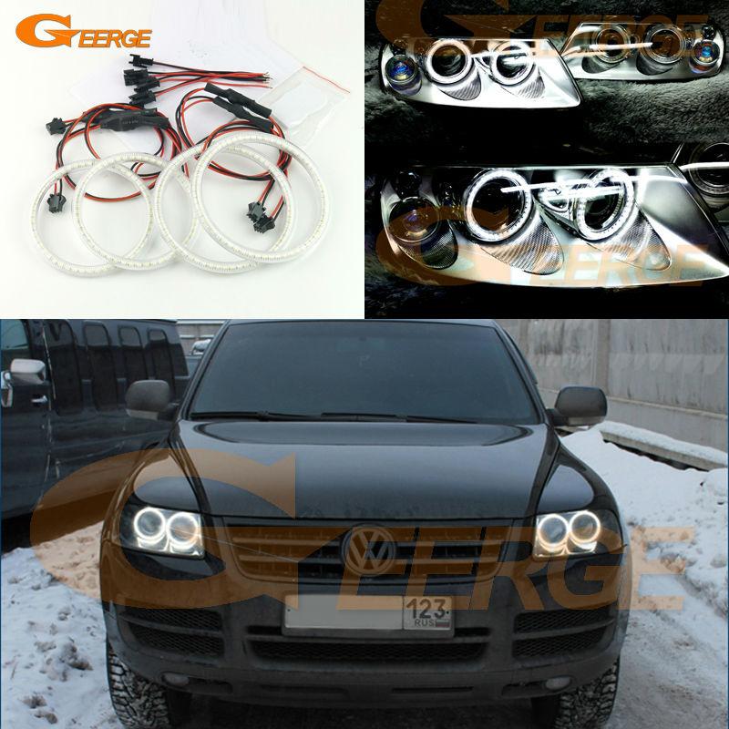 Для Фольксваген VW Туарег 2004 2005 2006 2007 Галогенные фары отлично Ультра-яркий освещения SMD из светодиодов глаза Ангела комплект