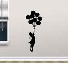 все цены на Balloon Girl Wall Decal Vinlyl Removable Banksy Wall Sticker Kids Nursery Decor Wall Art Mural Girls Room Balloon Decor AY317 онлайн