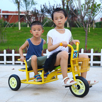 Children's Tricycle Bicycle Double Baby Stroller 2 In 1 18 Months 8 Years Kindergarten Kids Double Three Wheels Bicycle Trike