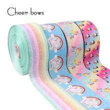 "2Y / lot 3 ""75mm Rainbow Unicorn Bercetak Grosgrain Ribbon Fabrik Fabrik DIY Aksesori rambut Pengalas Hiasan Holiday Materials"