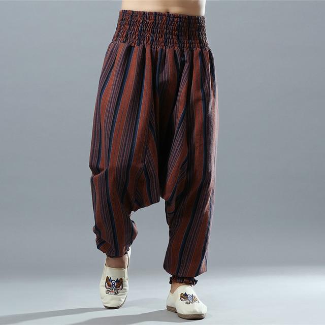 Elastic Waist Men Cotton Linen Stripe Big Crotch Pants Hippy Aladdin Harem Wide leg Ninja Casual Pants Full Length Trousers L-XL 3