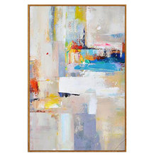 Hand painted modern abstract nordic oil painting yellow blue canvas art decorative picture gift home decoration