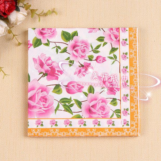 rose paper napkin flower festive party tissue napkins decoupage decoration paper for wedding 33cm - Decorative Paper Napkins