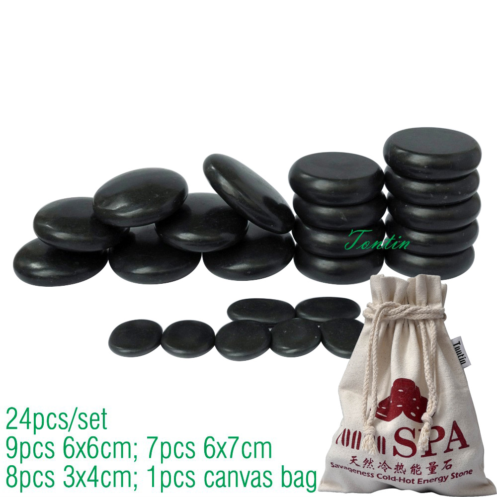 TONTIN Hot Massage Energy Body Basalt Stone set Beauty Salon SPA with Thick Canvas bag CE and ROHS 24pcs per setTONTIN Hot Massage Energy Body Basalt Stone set Beauty Salon SPA with Thick Canvas bag CE and ROHS 24pcs per set
