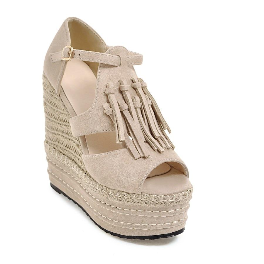 ZawsThia 2019 Summer Woman High Heel Platform Peep Toe Shoes Wedge Sandals With Tassels Fringes Gladiator Sandals Women Sandalia