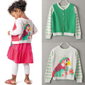 New Girls Baby Cartoon Sweater parrot stripe sleeve knitted cardigan Before and after wear wholesale