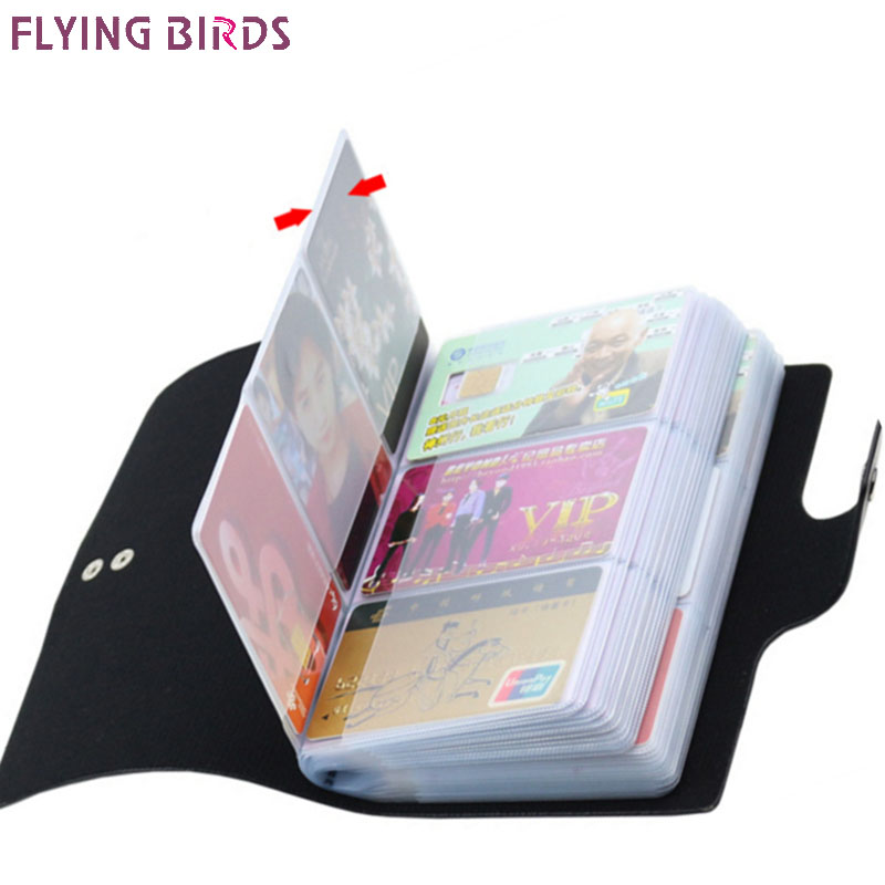 FLYING BIRDS women&men card holder name ID Business Card Holders High Quality Leather 156 Bank credit Card Case Hasp LM4358fb fashion black stainless metal waterproof card holders metal credit card case business name card case bank id card holder