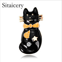 Sitaicery Cute Black Tie Cat Brooch Smooth Artificial Opals Corsage For Women Collar Hats White Enamel Brooches Pins Girls Gift