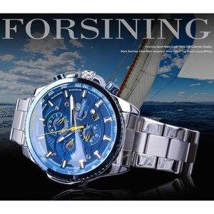 Image 2 - Forsining Blue Ocean Design Silver Steel 3 Dial Calendar Display Mens Automatic Mechanical Sport Wrist Watches Top Brand Luxury