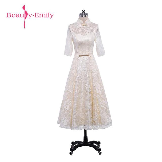 Beauty-Emily Lace Tea-Length Brideamaid Dresses 2017 High Neck A-Line Sleeve Cheap Wedding Party Dress Tea-Length Prom Dresses
