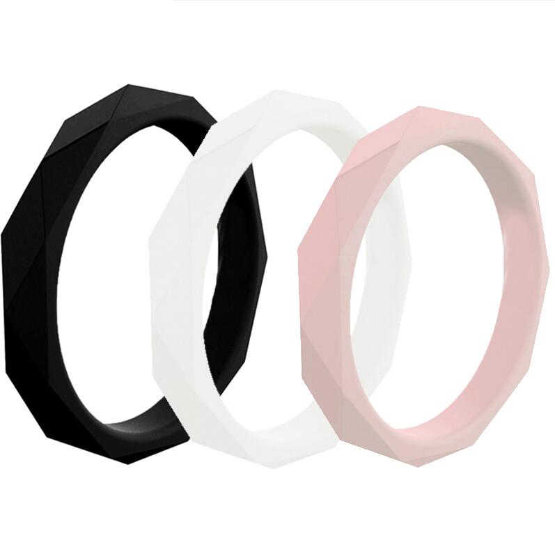 2019 New Fashion 3mm Diamand Shape Silicone Finger Rings For Women Wedding Rings Hypoallergenic Crossfit Flexible Rubber Ring