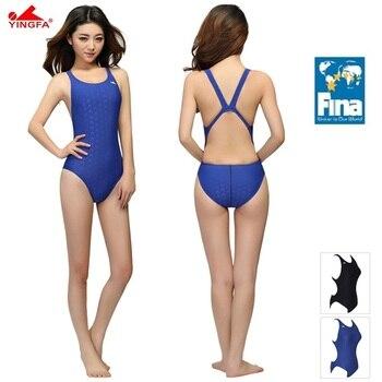 ee5426e4b8e8 Yingfa fina aprobado una pieza entrenamiento competición traje de baño  mujer impermeable sharkskin