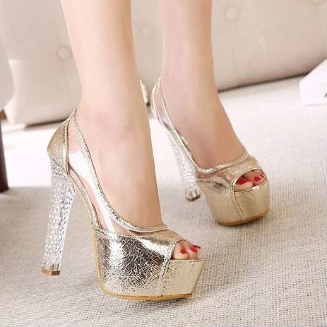 85ce6bada0 Sexy Ladies Silver Gold Crystal Heel Wedding Shoes Platform High Heels  Glitter Peep Toe Sandals Rhinestone Evening Party Pumps-in Women's Pumps  from Shoes ...