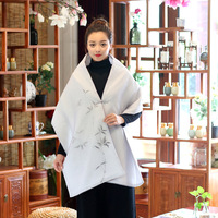 Alta Qualidade Designer de 2017 Mulheres de Outono Inverno Do Vintage Étnica Pintados À Mão De Seda De Bambu Algodão Chinês-Estilo Xale Casaco Elegante