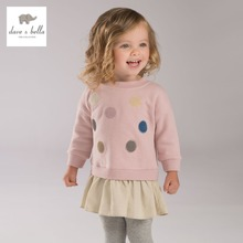 DB4008 dave bella autumn baby girls pink t shirt infant clothes girls dots pink tops blouse
