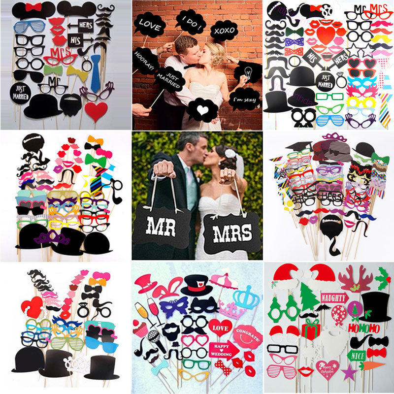 Wedding Decorations Props with Wooden Sticks Wedding Photo Booth Props 44 Pcs,Bridal Shower Wedding Photo Booth Kit Fun Decoration,Valentines Day//Weddings Gift