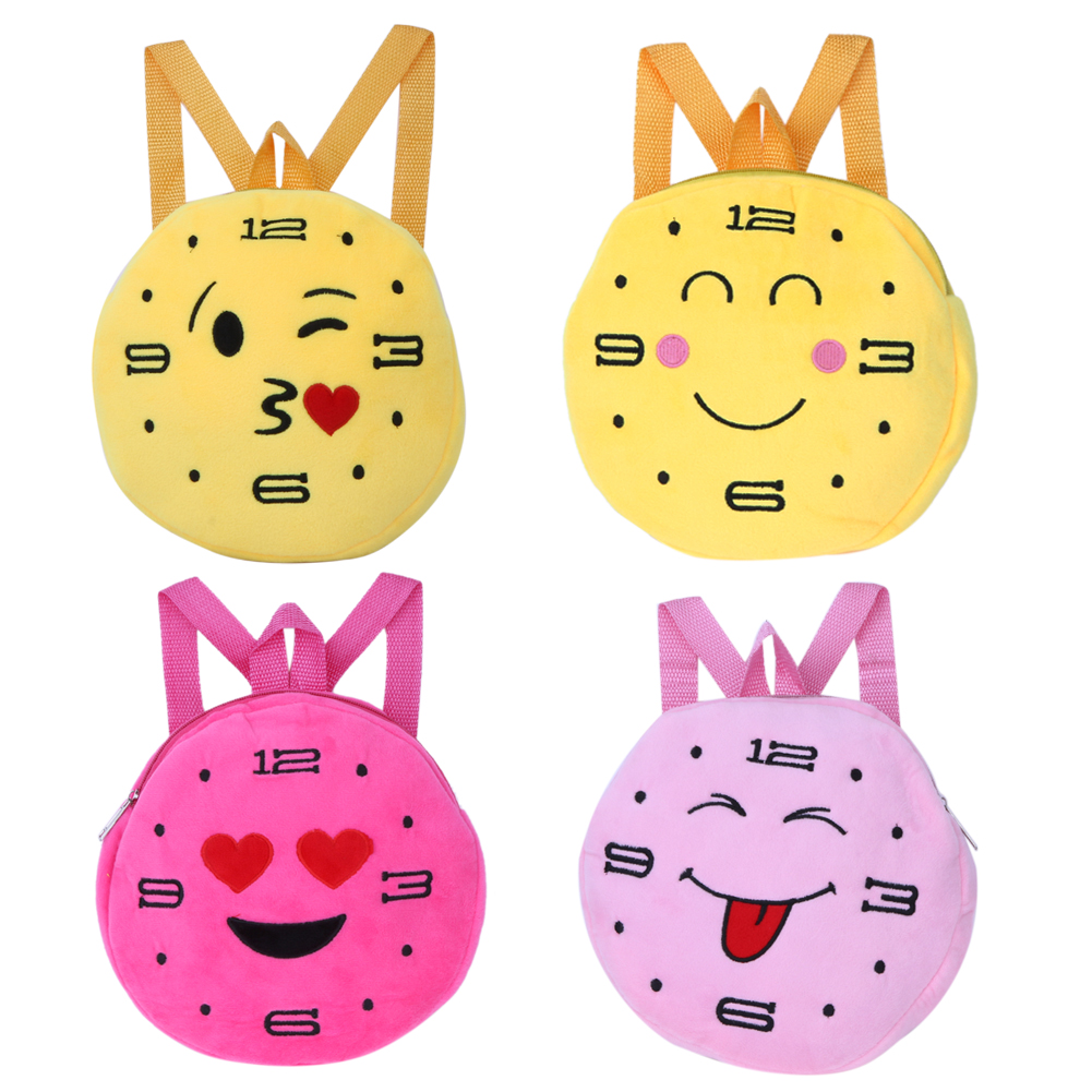 Face Expression Plush Toy Children Round Emotion Kiss Peach Heart Embroidery Children School Backpack Plush Backpack